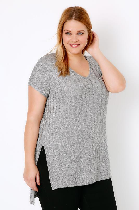 Grey Ribbed Slinky V-Neck Top With Dipped Hem & Side Splits