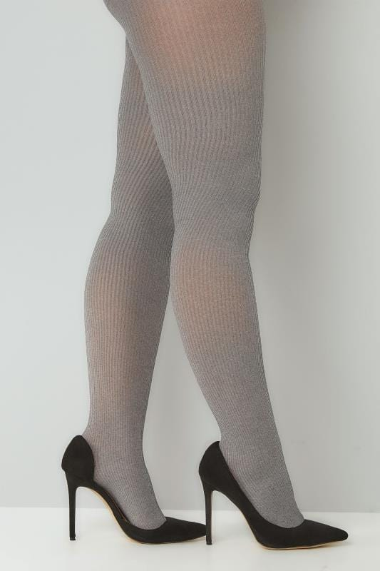 Plus Size Tights Grey Ribbed Tights