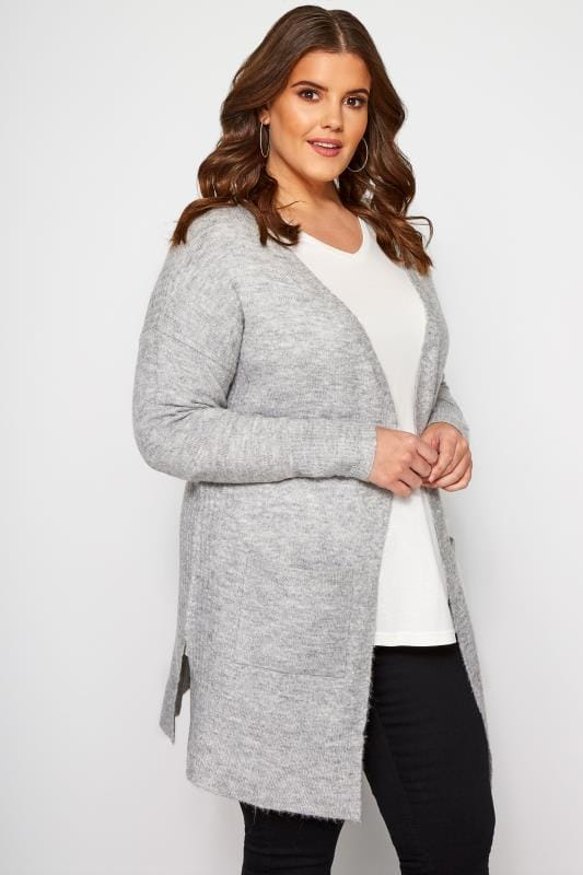 Plus Size Cardigans Grey Ribbed Trim Pocket Cardigan