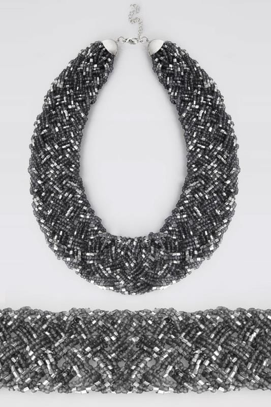Grey & Silver Beaded Bib Necklace