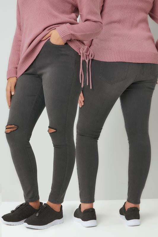 Grey Skinny Jeans With Ripped Knees