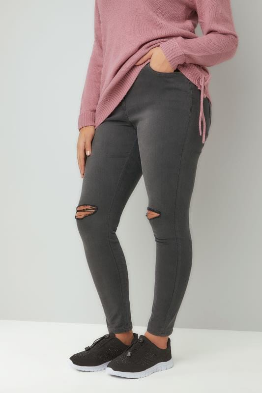 Grey Ripped Knee Super Stretch Skinny AVA Jeans
