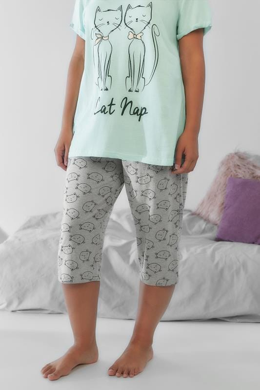 Grey Sleeping Cat Print Cropped Pyjama Bottoms