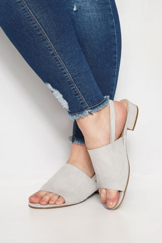 Plus Size Sandals Grey Slingback Sandals