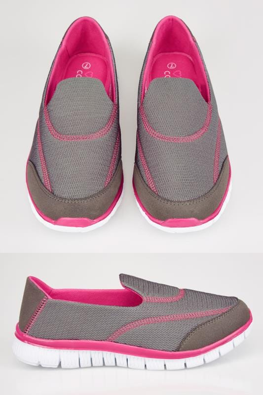 Grey & Pink Slip On Trainers In EEE Fit