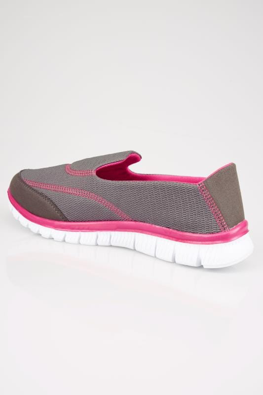 Grey & Pink Slip On Trainers In TRUE EEE Fit