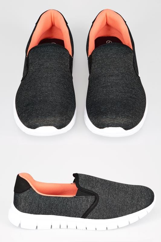 Grey Slip On Trainers With Memory Foam Insole In TRUE EEE Fit