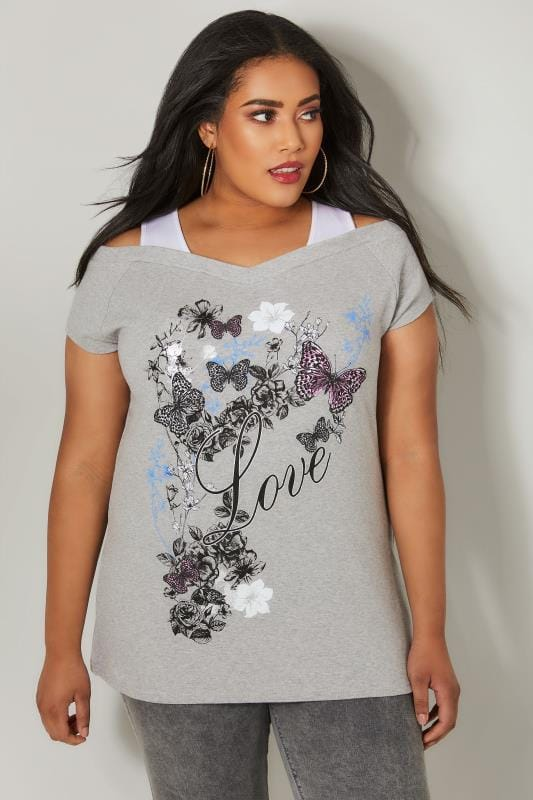 Grey Slogan & Butterfly Print Bardot Top