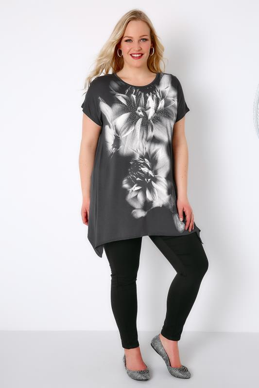 Grey Smoky Floral Print Stud Embellished Top With Hanky Hem