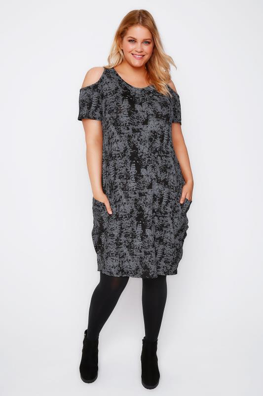 Grey Smudge Print Cold Shoulder Dress