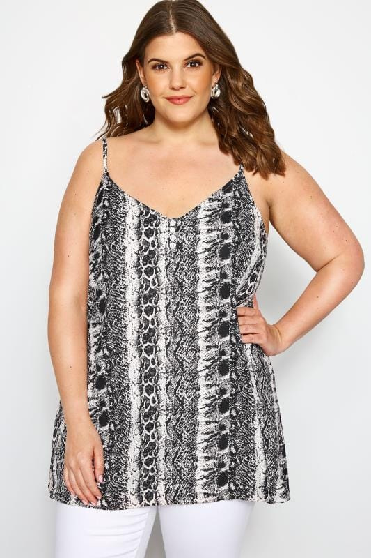 Plus Size Vests & Camis Grey Snake Print Button Cami