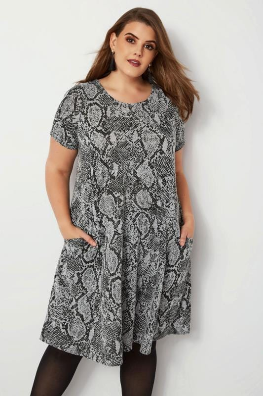 Plus Size Midi Dresses Grey Snake Print Drape Pocket Dress