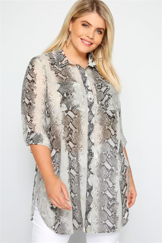 68128751be258 Plus Size Shirts Grey Snake Print Longline Shirt