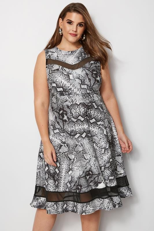 Plus Size Midi Dresses Grey Snake Print Scuba Skater Dress