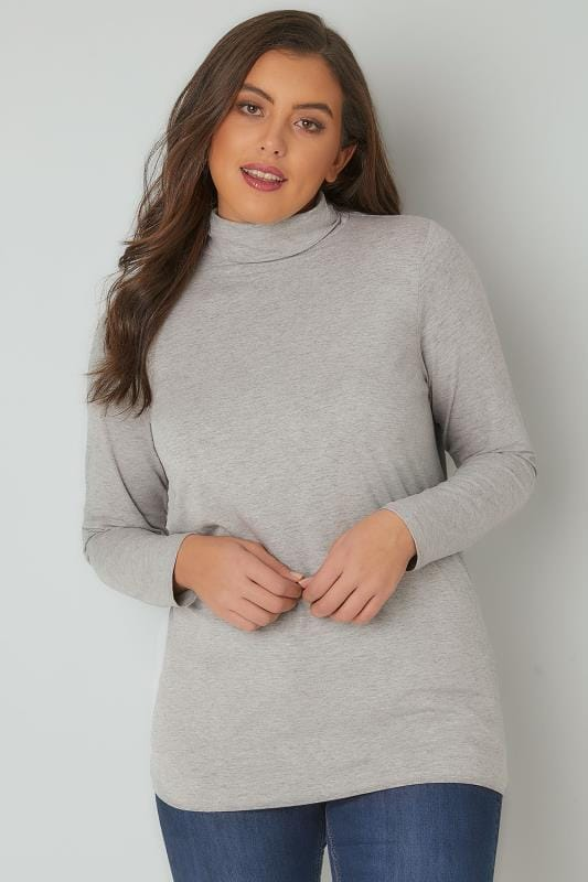 Plus Size Jersey Tops Grey Soft Touch Turtle Neck Jersey Top With Long Sleeves