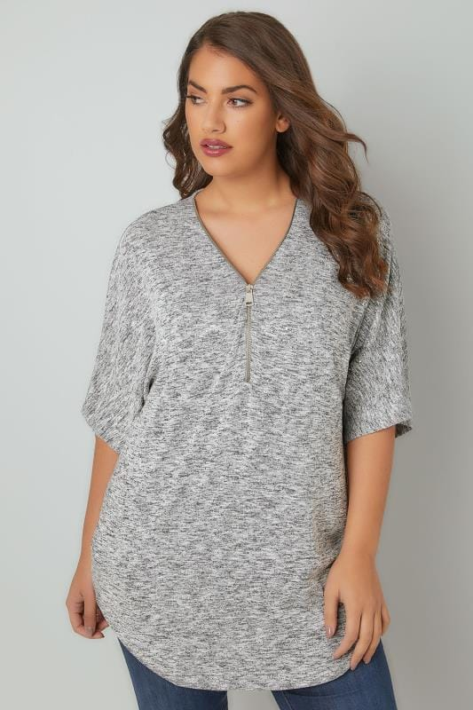 Plus Size Knitted Tops Grey Space Dye Fine Knit Embellished Top With Zip Front