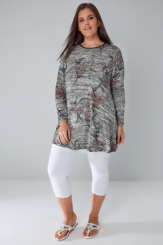 Grey Space Dye Floral Print Swing Top With PU Trim