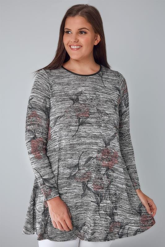 Knitted Tops Grey Space Dye Floral Print Swing Top With PU Trim 132185
