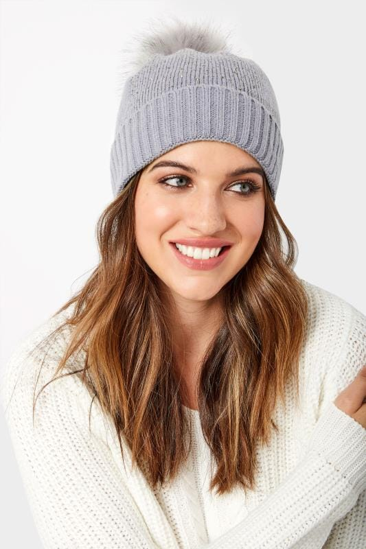 Plus Size Hats Grey Sparkle Pom Pom Hat