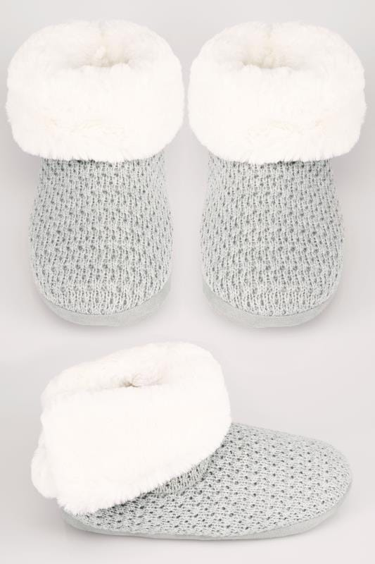 Wide Fit Slippers Grey Sparkle Knitted Slipper Boot With Faux Fur Lining & Pom Detail