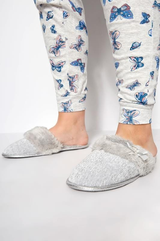 Wide Fit Slippers Grey Sparkle Knitted Slipper With Faux Fur Cuff