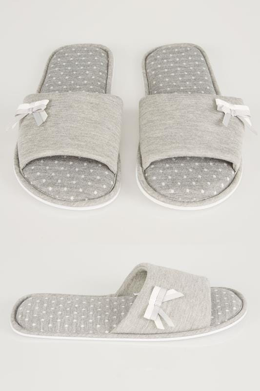 Wide Fit Slippers Grey Spot Slippers With Double Bow Detail