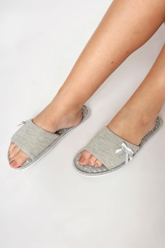 Grey Spot Slippers With Double Bow Detail