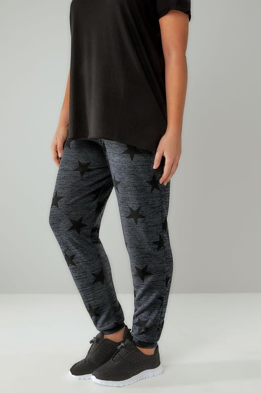 Grey Star Print Joggers With Elasticated Waistband