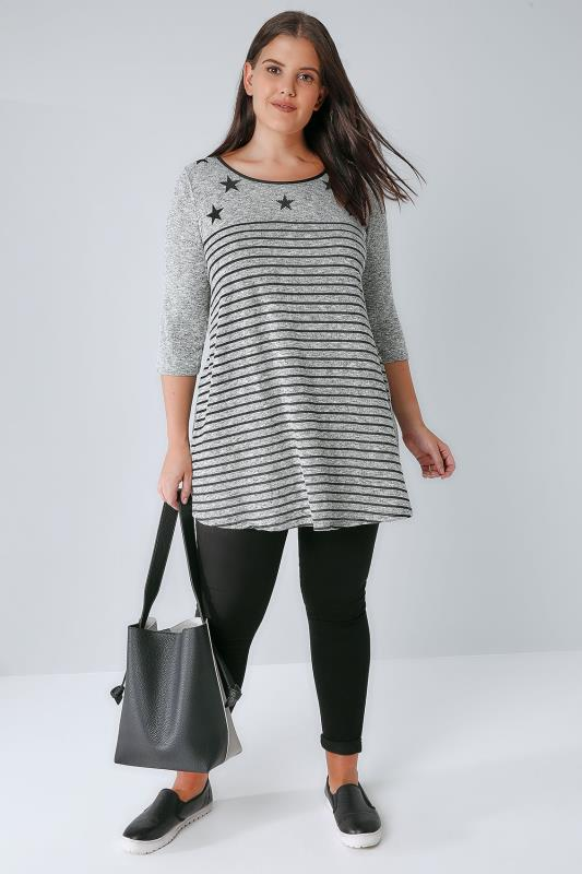 Grey Stripe Knitted Longline Swing Top With Embellished Star Print