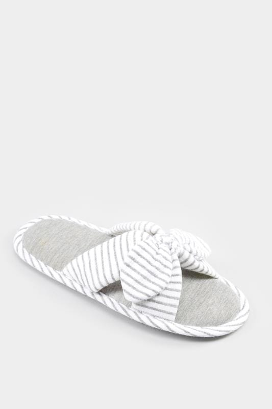 Plus Size Slippers Grey Striped Bow Slippers