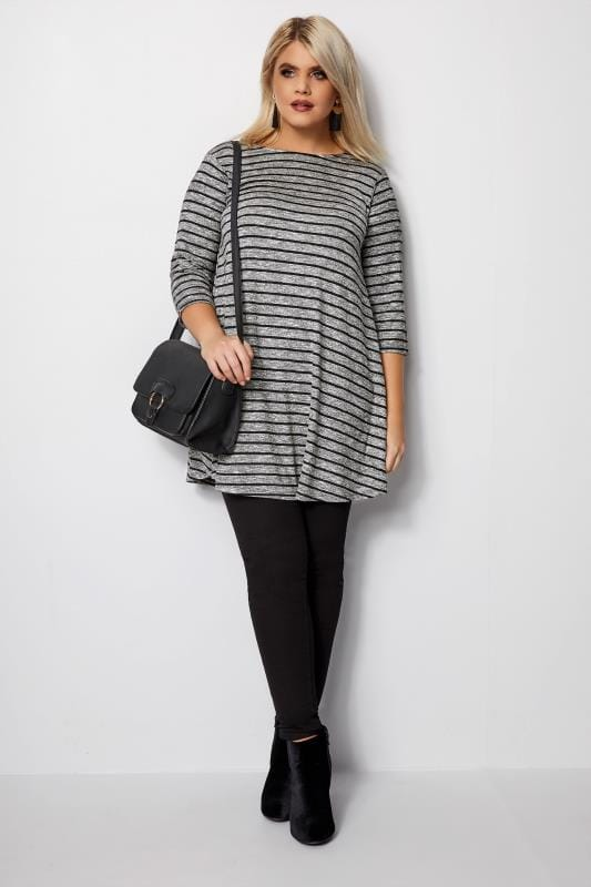Plus Size Day Tops Grey Striped Longline Swing Top