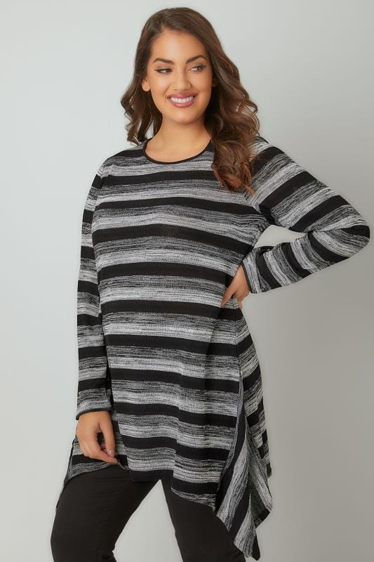 Grey Striped Longline Top With Hanky Hem