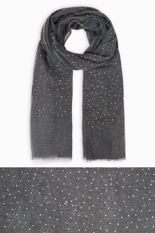 Plus Size Scarves Grey Stud Scarf