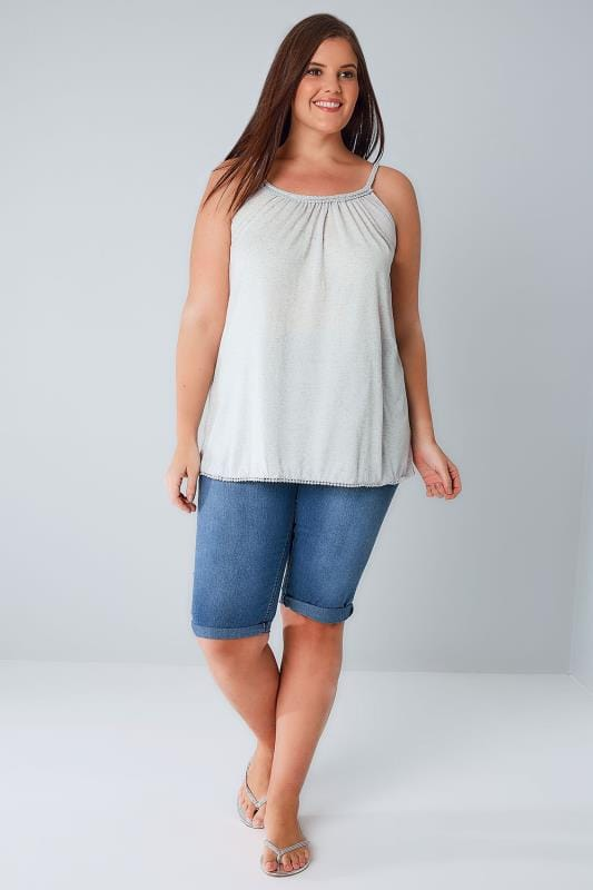 Grey Swing Vest With Plaited Straps & Pom Hem