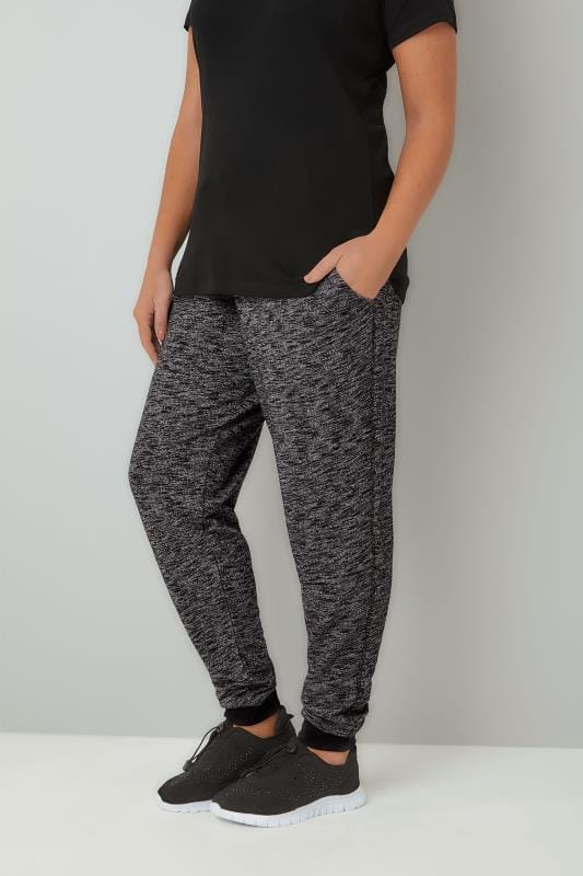 Plus Size Joggers Grey Textured Joggers With Contrast Waistband & Cuffs
