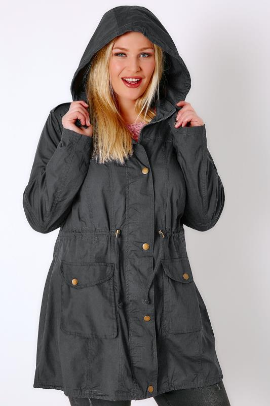 Grey Washed Lightweight Parka With Hood