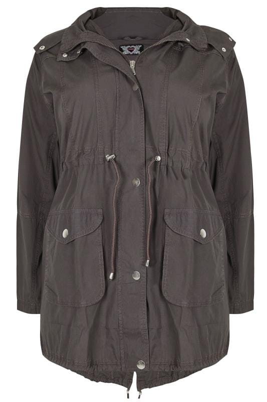 Jackets Grey Washed Parka Jacket With Pockets 120100