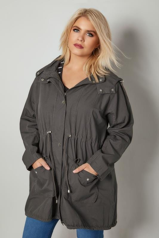 Grey Washed Parka Jacket With Pockets