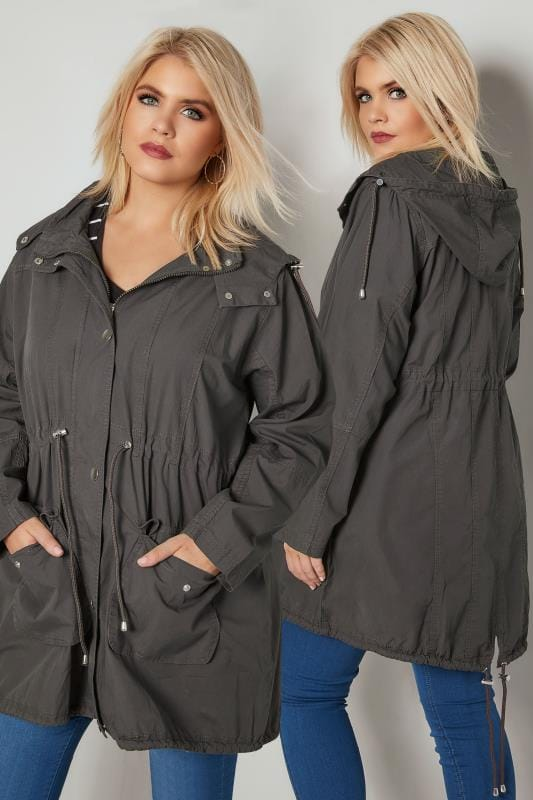 Plus Size Jackets Grey Washed Parka Jacket With Pockets