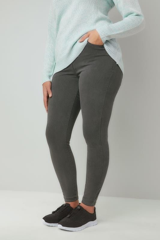 Plus Size Skinny Jeans Grey Washed Stretch Skinny AVA Jeans