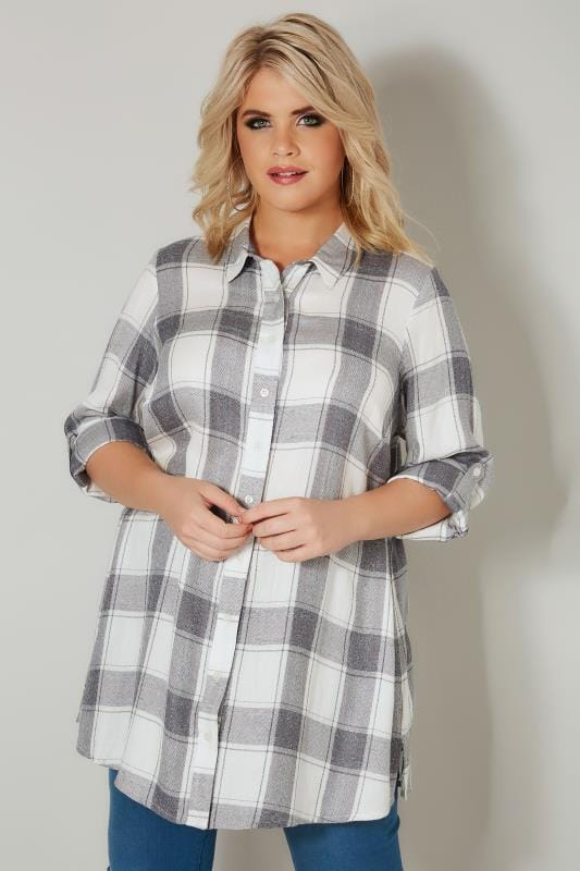 Plus Size Blouses & Shirts Grey & White Check Shirt With Metallic Thread