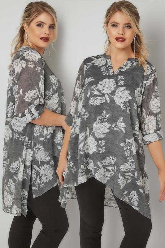 Grey & White Floral Print Layered Blouse With Notch Neck & Dipped Hem