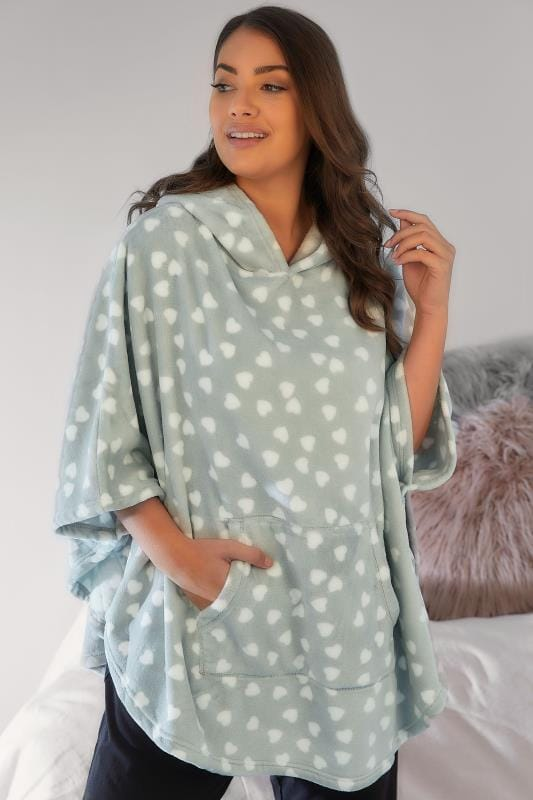 Dressing Gowns Grey & White Heart Print Fleecy Nightwear Poncho With Hood & Bunny Ears 148128