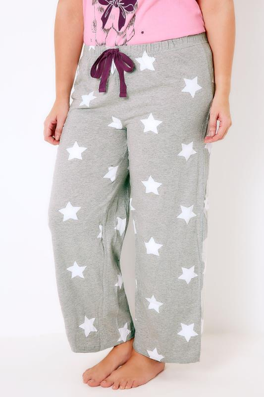 Grey & White Star Print Pyjama Bottoms