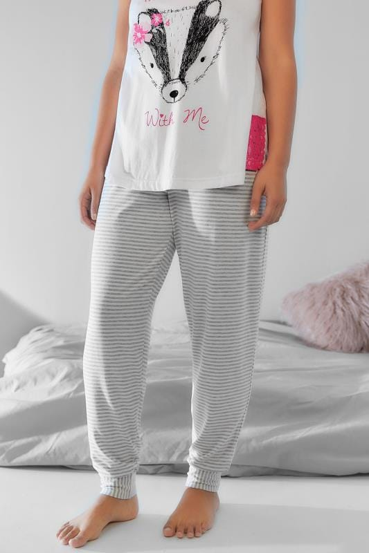 Grey & White Stripe Pyjama Bottoms