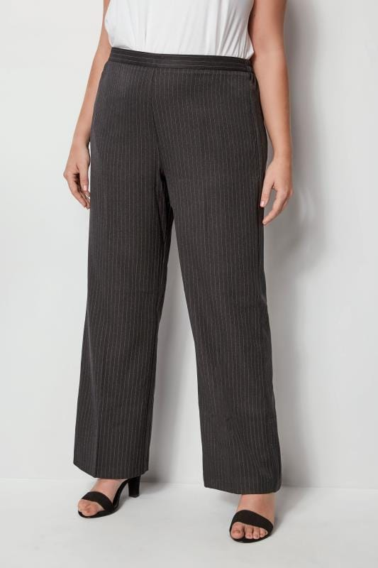 Plus Size Wide Leg & Palazzo Trousers Grey Wide Leg Pinstripe Trouser
