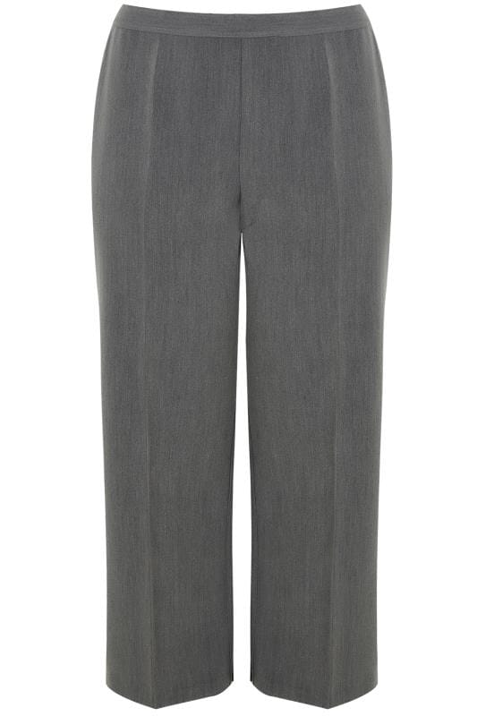 Grey Wide Leg Smart Trousers With Elasticated Waist