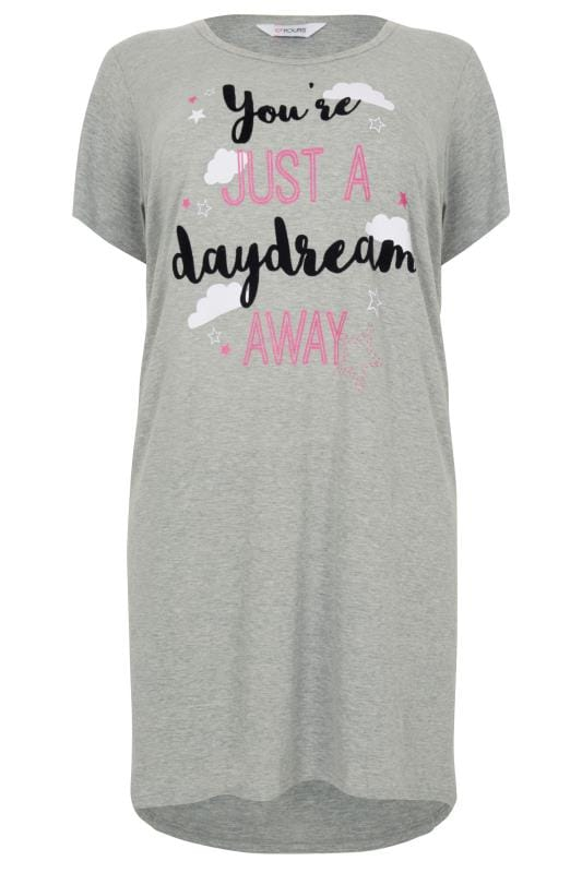 Grey 'You're Just A Daydream Away' Dipped Hem Nightdress