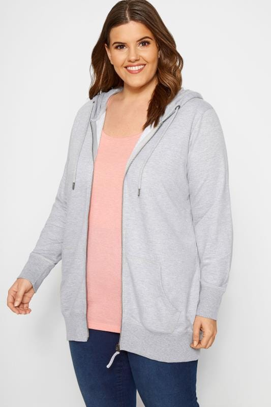 Plus Size Hoodies & Jackets Grey Zip Through Hoodie
