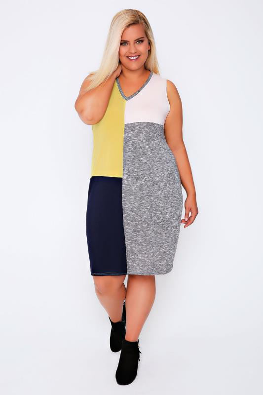 Grey marl, Yellow, Pink & Navy Colour Block Sleeveless Shift Dress